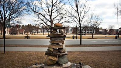 stacked stone sculpture on campus