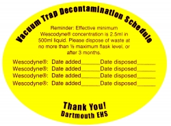 Vacuum Trap Decontamination Schedule Sticker